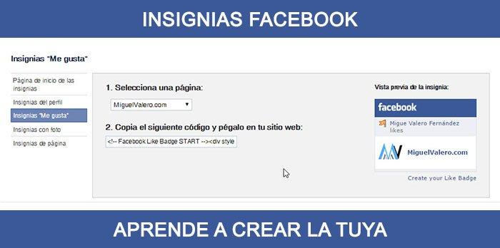 Como crear una insignia de Facebook para tu sitio