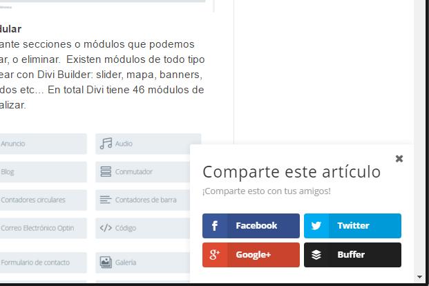 Ejemplo de opcion fly in en Monarch para WordPress