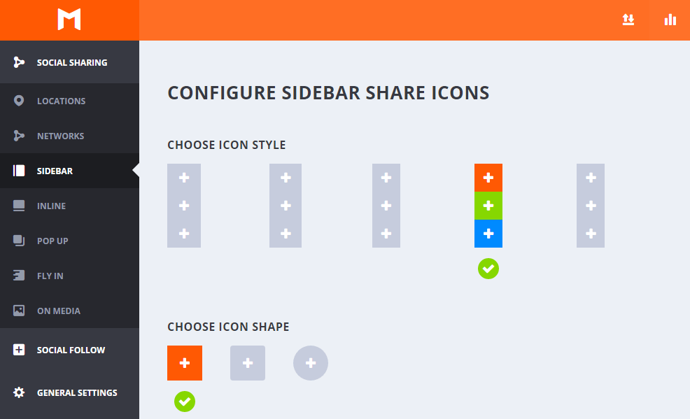 Estilo y forma de los iconos en Sidebar - Monarch WordPress