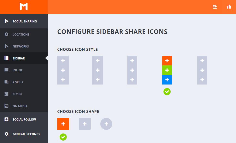 Estilo y forma de los iconos en Sidebar - Monarch WordPress