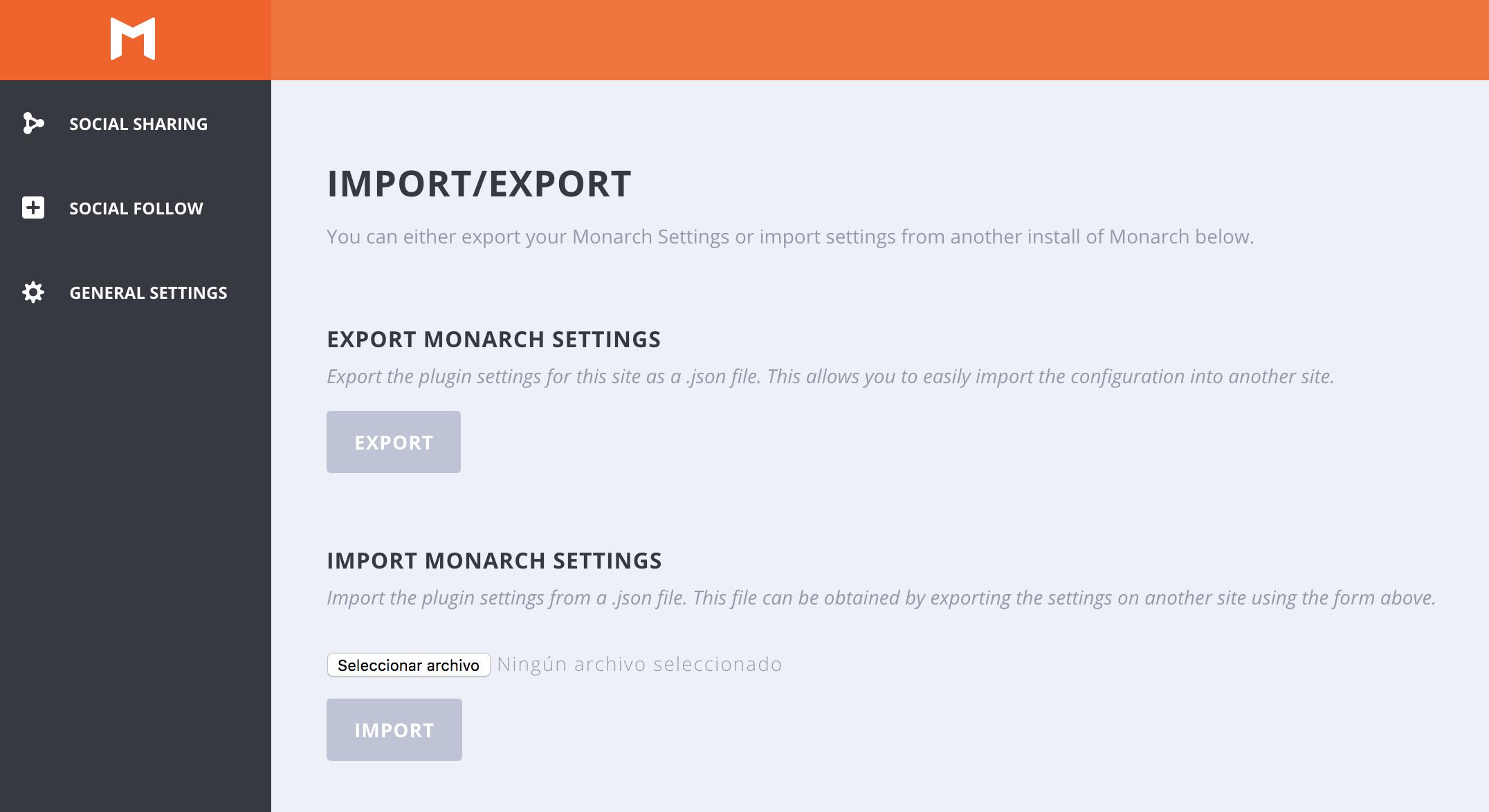 Opción de importar y exportar ajustes en Monarch para WordPress