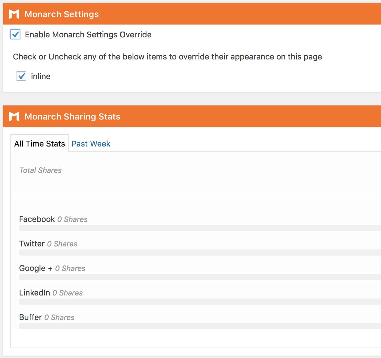 Opciones de Monarch en las entradas y paginas de WordPress