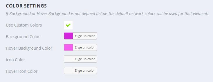 Opciones de color de los botones sidebar - Monarch WordPress