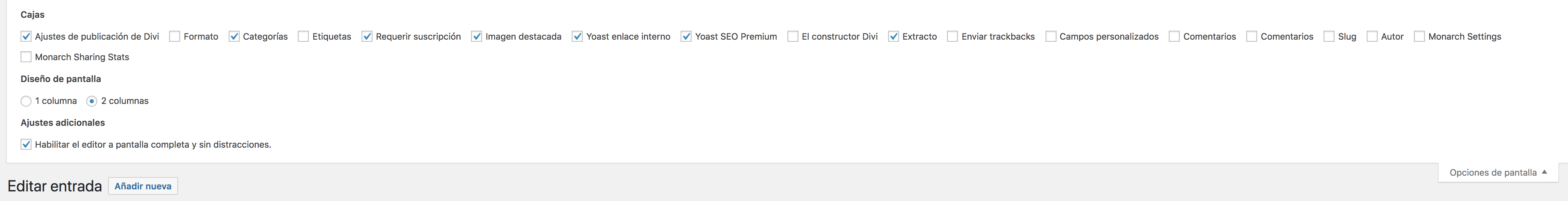 Opciones de pantalla de WordPress - Monarch
