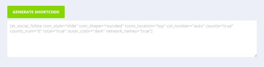 Shortcode iconos social follow de Monarch para WordPress