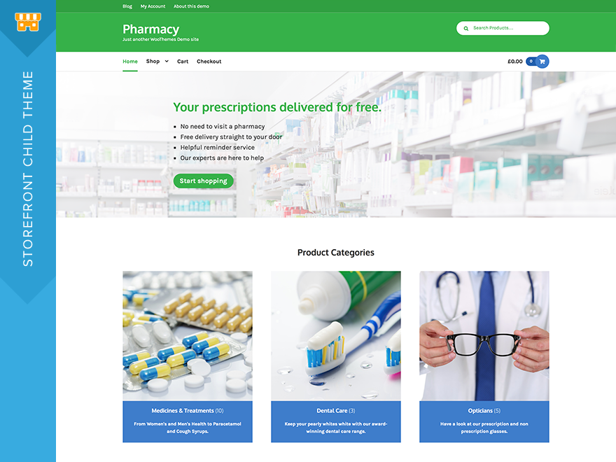 Pharmacy Storefront Child Theme