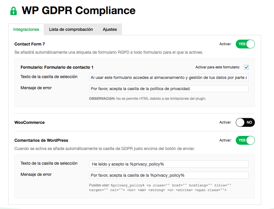 WP GDPR Compilance