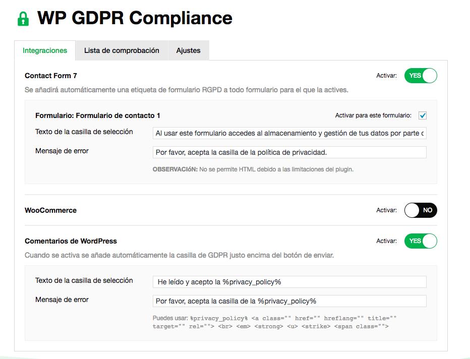 WP GDPR Compilance