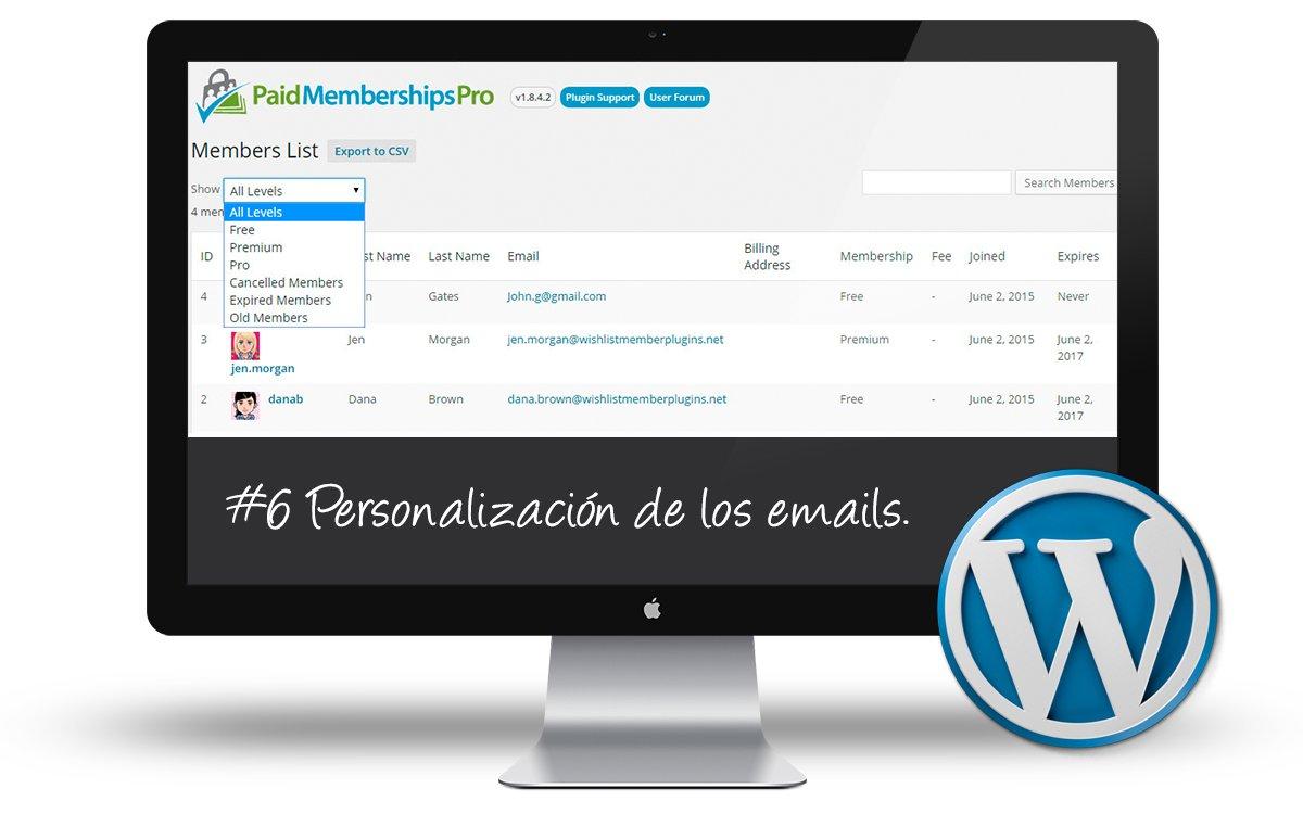 Curso Membership Sites - Personalizacion de los emails