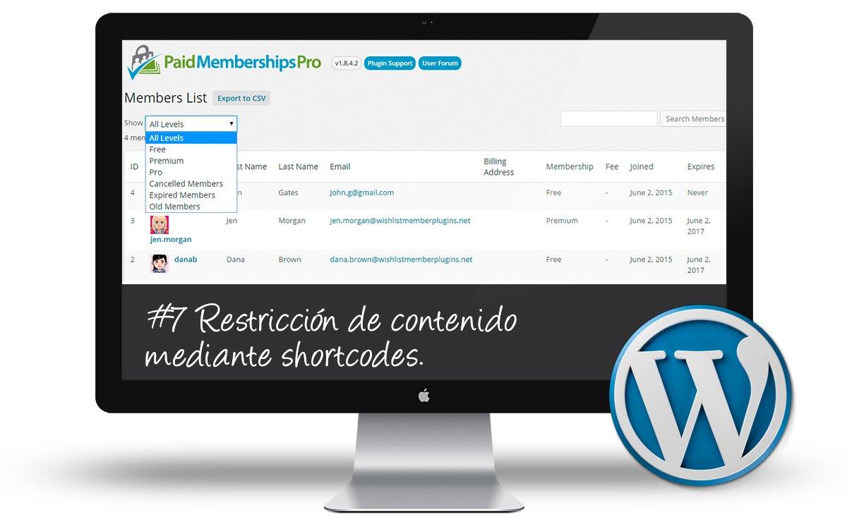 Curso Membership Sites - Restriccion contenido shortcodes