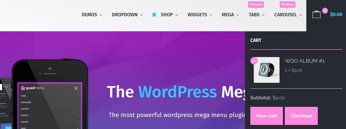 Carrito de la compra en menu WordPress con QuadMenu