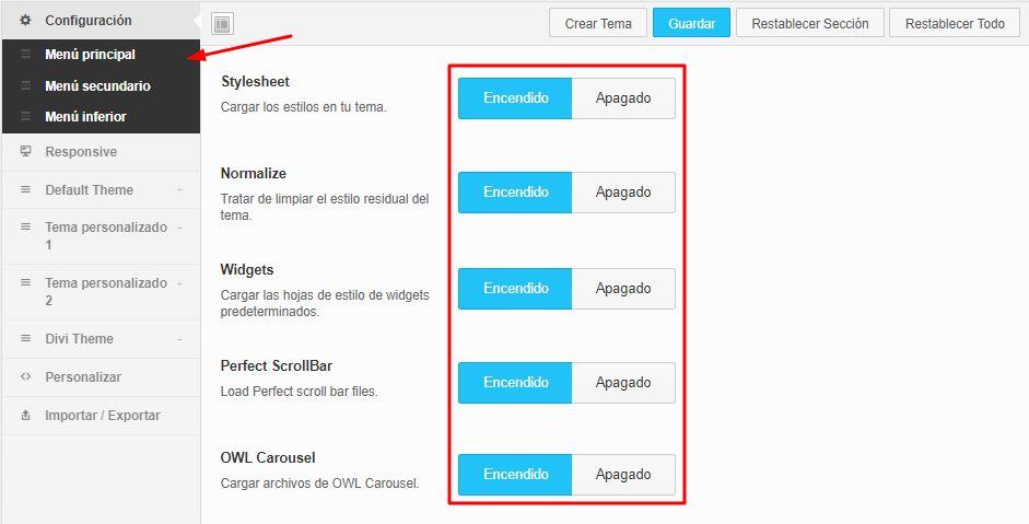 Opciones de configuracion de QuadMenu pra WordPress